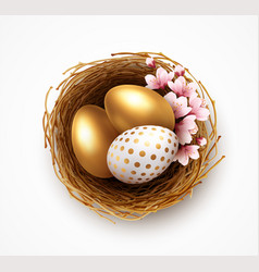 happy easter greeting background with realistic vector image