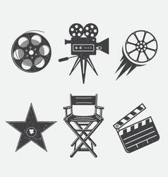 icons set movies clapper camera film chair star vector image