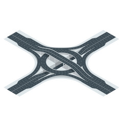isometric highway junction road and interchange vector image