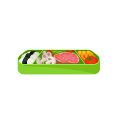 japanese food in green lunch box asian traditions vector image