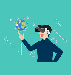 man in virtual reality vector image