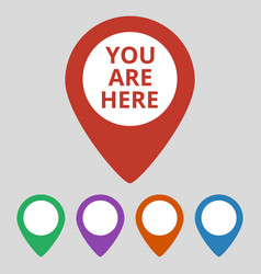 marker location icon with you are here text vector image