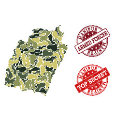 Military camouflage composition of map of manipur vector