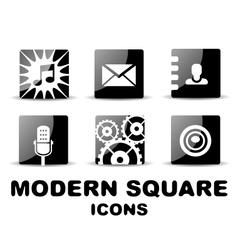 Modern glossy black square icon set vector image