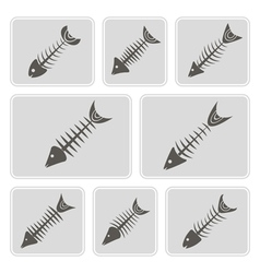 monochrome icons with fish skeletons vector image