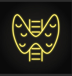 neon human thyroid icon in line style vector image