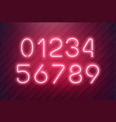 neon numbers light typefont text vector image