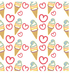 Neon sweet ice cream in the cornet with heart vector