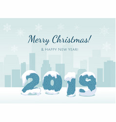 new year 2019 year number on city background vector image