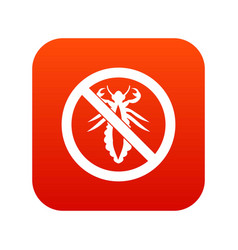 No louse sign icon digital red vector