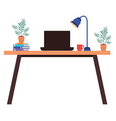 Office desk with laptop isolated icon vector