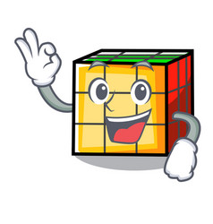 Okay rubik cube character cartoon vector