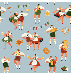 oktoberfest funny cartoon characters in bavarian vector image
