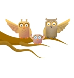 Owl happy family vector image