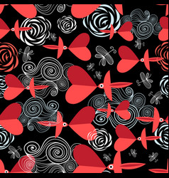 pattern in love birds with hearts vector image