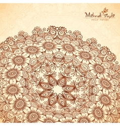 Perspective mehndi mandala in henna tattoo vector