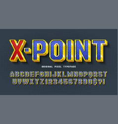 pixel alphabet design stylized like in 8 vector image