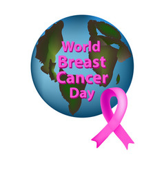 Planet earth pink ribbon world breast cancer day vector