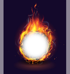 Realistic burning fire flame on black background vector