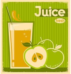 Red apple juice on old paper vintage card vector