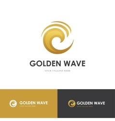 round golden wave logo vector image