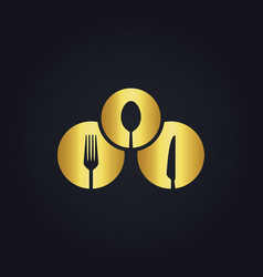 Round spoon fork food gold logo vector