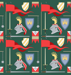 Seamless medieval pattern with helmet flags vector