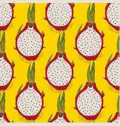 seamless pattern with dragon fruit or pitaya vector image