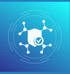 security network protection icon with shield vector image
