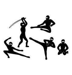 set of black silhouette ninjas on white background vector image