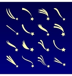 Shooting star comet silhouettes icons vector image