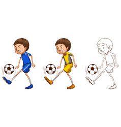 soccer player in three sketches vector image