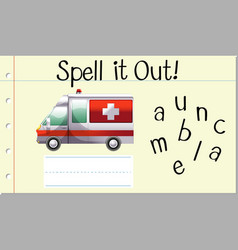 Spell it out ambulance vector