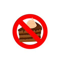Stop sweets Forbidden cake Red forbidding vector