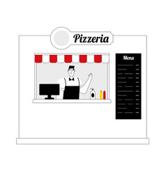 take away food set cafe flat vector image