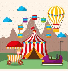 Tent ferris wheel hot air balloon bumper car vector