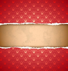 Torn red ornamental wallpaper vector image
