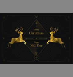 two golden reindeers merry christmas art deco vector image