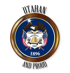 Utah proud flag button vector