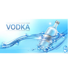 vodka bottle with ice cubes mockup promo banner vector image