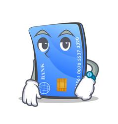 Waiting credit card character cartoon vector