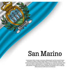 waving flag of san marino vector image