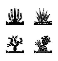 Wild cacti in ground glyph icons set vector
