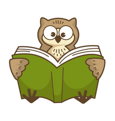 wise owl with big round eyes reads book vector image