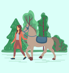 Woman lead horse stallion with saddle and curb vector