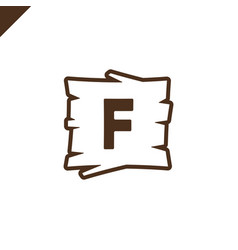 Wooden alphabet or font blocks with letter f in vector