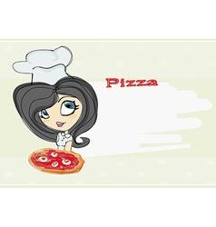 Young woman enjoys pizza vector