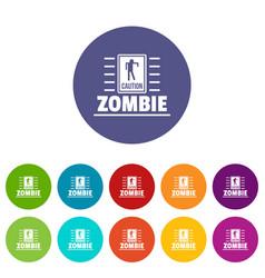 Zombie danger icons set color vector