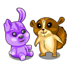 baby soft toys purple hare and brown beaver vector image