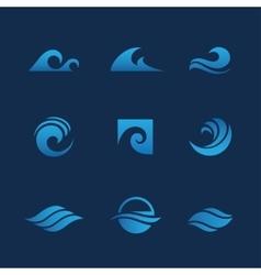 Blue waves set vector image